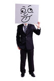 Homme d'affaires tenant le panneau d'affichage drôle d'expression photographie stock