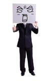 Homme d'affaires tenant le panneau d'affichage fâché d'expression Image stock