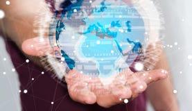 Homme d'affaires tenant le réseau global sur le rendu de la terre 3D de planète Photos libres de droits