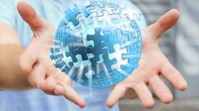 Homme d'affaires tenant le rendering' de la sphère '3D de puzzle de vol Image stock