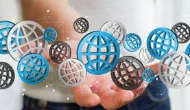 Homme d'affaires tenant le rendering' numérique des icônes '3D de Web Photo stock