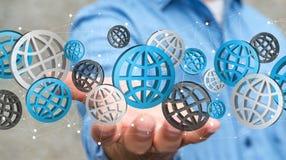 Homme d'affaires tenant le rendering' numérique des icônes '3D de Web Photographie stock libre de droits
