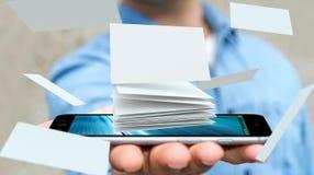 Homme d'affaires tenant le rendu de flottement de la carte de visite professionnelle de visite 3D Images stock