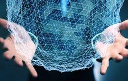 Homme d'affaires tenant le rendu de la sphère 3D de réseau de vol Photo libre de droits