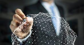 Homme d'affaires tenant le rendu de la sphère 3D de réseau de vol Photographie stock libre de droits