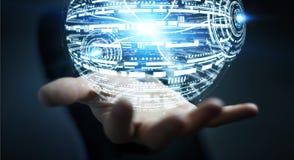 Homme d'affaires tenant le rendu de la sphère 3D d'hologramme Photographie stock libre de droits
