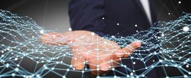 Homme d'affaires tenant le rendu du point 3D de réseau de vol Images libres de droits