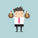 Homme d'affaires tenant le sac d'argent dans des mains illustration de vecteur