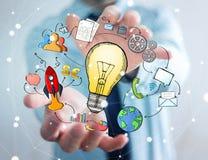 Homme d'affaires tenant les icônes tirées par la main d'ampoule et de multimédia Image stock