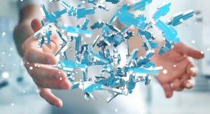 Homme d'affaires tenant 3D rendant le groupe de personnes bleues Photo libre de droits