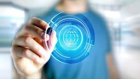Homme d'affaires tenant un bouton technologic de globe de Shinny - rende 3d Photographie stock libre de droits
