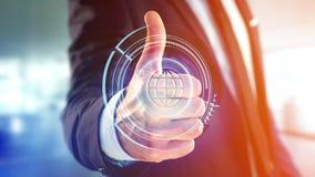 Homme d'affaires tenant un bouton technologic de globe de Shinny - rende 3d Images libres de droits