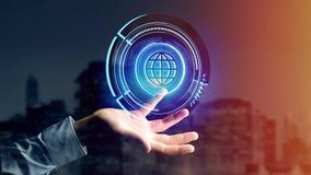 Homme d'affaires tenant un bouton technologic de globe de Shinny - rende 3d Photo libre de droits