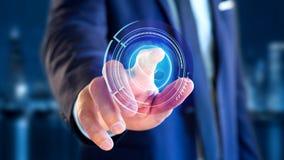 Homme d'affaires tenant un bouton technologic de téléphone de Shinny - rende 3d Image stock