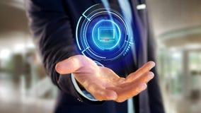 Homme d'affaires tenant un bouton technologic d'ordinateur de Shinny - 3d au sujet de Image stock