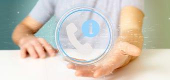 Homme d'affaires tenant un Bu de service de client et de ligne directe d'aide Images libres de droits