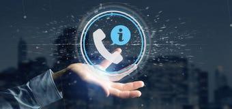 Homme d'affaires tenant un Bu de service de client et de ligne directe d'aide Image stock