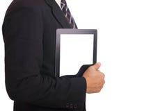 Homme d'affaires tenant un comprimé. Photos libres de droits