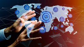 Homme d'affaires tenant un réseau au-dessus d'une carte reliée du monde - 3d au sujet de Photographie stock libre de droits