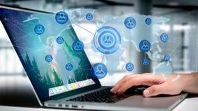 Homme d'affaires tenant un réseau au-dessus d'une carte reliée du monde - 3d au sujet de Image libre de droits