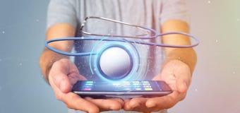 Homme d'affaires tenant un 3d rendant le stéthoscope médical Image libre de droits