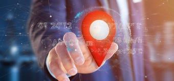 Homme d'affaires tenant un support de goupille du rendu 3d sur un globe avec la Co Photos stock