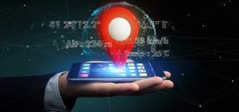 Homme d'affaires tenant un support de goupille du rendu 3d sur un globe avec la Co Images libres de droits