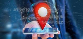 Homme d'affaires tenant un support de goupille du rendu 3d sur un globe avec la Co Image libre de droits