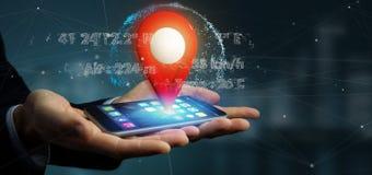 Homme d'affaires tenant un support de goupille du rendu 3d sur un globe avec la Co Image stock