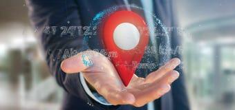 Homme d'affaires tenant un support de goupille du rendu 3d sur un globe avec la Co Photographie stock