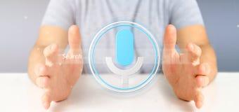 Homme d'affaires tenant un système de recherche vocal avec le bouton et l'icon3d photos libres de droits