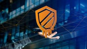 Homme d'affaires tenant une attaque de processeur de fusion avec l'escroquerie de réseau Photo libre de droits
