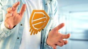 Homme d'affaires tenant une attaque de processeur de fusion avec l'escroquerie de réseau Image libre de droits