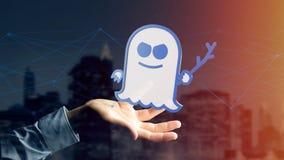 Homme d'affaires tenant une attaque de processeur de spectre avec des conn. de réseau Image stock