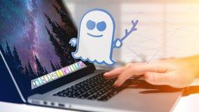 Homme d'affaires tenant une attaque de processeur de spectre avec des conn. de réseau Photo stock