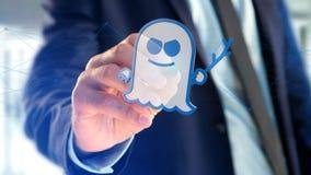 Homme d'affaires tenant une attaque de processeur de spectre avec des conn. de réseau Photos stock