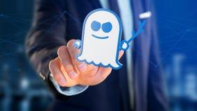 Homme d'affaires tenant une attaque de processeur de spectre avec des conn. de réseau Photographie stock