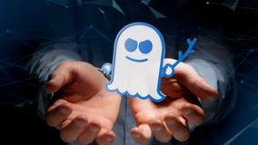 Homme d'affaires tenant une attaque de processeur de spectre avec des conn. de réseau Photos libres de droits