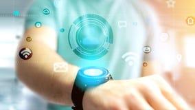 Homme d'affaires tenant une icône de contact entourant par APP et social Image libre de droits