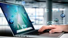 Homme d'affaires tenant une icône de contact entourant par APP et social Image stock