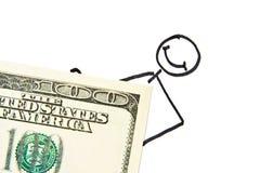 Homme d'affaires tiré avec de l'argent Photo stock