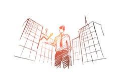 Homme d'affaires tiré par la main tenant l'indicateur de croissance illustration libre de droits