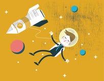 Homme d'affaires tombant dans l'espace Direction d'affaires silence et conception de l'avant-projet de pensée profonde Image stock