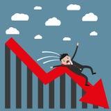 Homme d'affaires tombant du diagramme illustration libre de droits