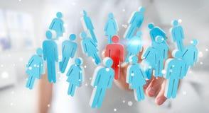 Homme d'affaires touchant 3D rendant le groupe de personnes avec son finge Image libre de droits