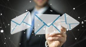 Homme d'affaires touchant l'icône d'email de vol du rendu 3D avec un chiffre Photos stock