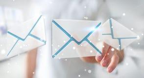 Homme d'affaires touchant l'icône d'email de vol du rendu 3D avec son aileron Image stock