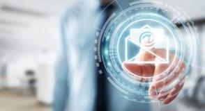 Homme d'affaires touchant l'icône d'email de vol du rendu 3D avec son aileron Photos stock