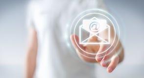 Homme d'affaires touchant l'icône d'email de vol du rendu 3D avec son aileron Image libre de droits