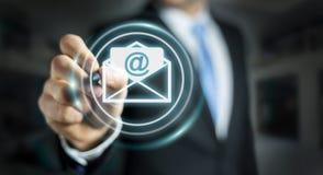 Homme d'affaires touchant l'icône d'email de vol du rendu 3D avec un chiffre Images libres de droits